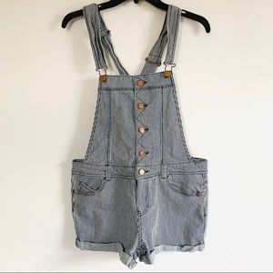 American Rag striped overall shorts size L